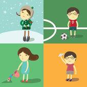 Kids games set — Stock Vector