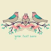 Love birds card — Stock Vector