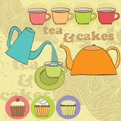 Tea and cup cakes set — Stock Vector