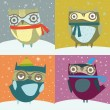 Cute winter owls card — Stock Vector #33804735