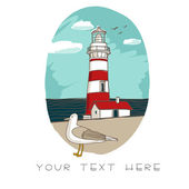 Card with lighthouse — Stock Vector