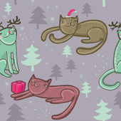 Christmas seamless cartoon cats pattern — Stock Vector