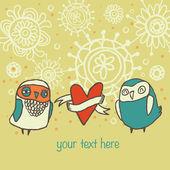 Cute owls card — Vector de stock