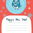 New Year Card with cute owl in hat — Stock Vector
