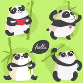 Cute pandas pattern — Stock Vector