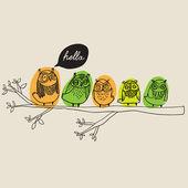 Cute owls card — Stock Vector