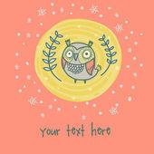 Card with cartoon owl — Stock Vector