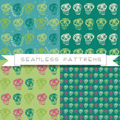 Set of four skull patterns — Stockvector