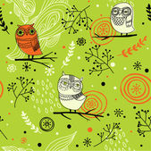 Seamless pattern with cute cartoon owls — Stock Vector