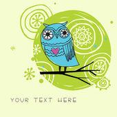 Cute card with cartoon owl in vector — Stock Vector