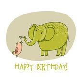 Birthday card with elephant and bird — Stock Vector