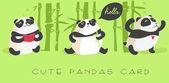 Cute pandas card — Stock Vector
