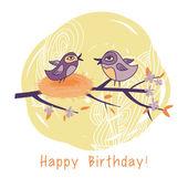 Birthday card with cartoon birds — Stock Vector