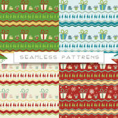 Set of four seamless patterns with gift boxes — Stock Vector