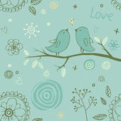 Bright seamless pattern with cute birds on branch. Seamless pattern can be used for wallpapers — Stock Vector