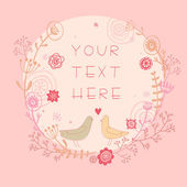 Stylish card made of flowers in light colors. Vintage card in vector with cute cartoon birds in pink color. — Stock Vector