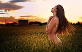 Sexy girl at sunset — Stock Photo