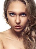 Beauty girl on white background — Stock Photo