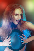 Colorful photo of funny girl — Stock Photo