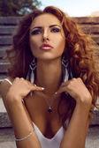 Outdoors portrait of pretty caucasian female — Stock Photo