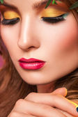 Close up portrait of woman with professional make up — Stock Photo