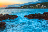 Raging sea at sunset — Stock Photo