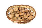 Nuts in a basket — Stock Photo