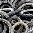 Stock Photo: Old motor bike tires