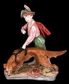 Ceramics boy and dog — Stock Photo
