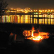 River lights time-lapse series Fishermen cook fish soup — Stock Video #17212241