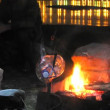 River lights time-lapse series Fishermen cook fish soup — Stock Video #17212267