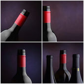 Wine bottle collage - four images — Stock fotografie