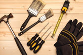 Wood work and painting tools — Stock Photo