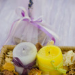 Lavander soap, spa set with candles — Stock Photo #12480964