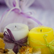 Foto de Stock  : Spa-natuarl lavander soap with candles