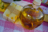 Massage oil with nature home made soap — Stock Photo