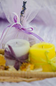 Lavander soap, spa set with candles — Stock Photo