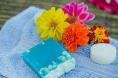 Spa and wellness setting with natural herbs soap and towel. — Stockfoto