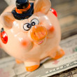 Saving money in beautiful piggy bank. — Stock Photo #13849517