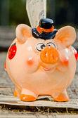 Geld besparen in mooie piggy bank. — Stockfoto