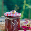 Home made raspberry jam with home made cookies — Stock Photo #13850206