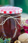 Home made raspberry jam and nuts — Zdjęcie stockowe