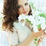 Beautiful woman in white dress — Stock Photo #13280366