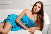 Attractive Young Woman in Blue dress — Stock Photo