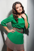 Beautiful Woman in green dress portrait — Foto de Stock