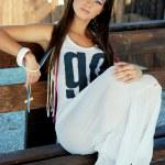 Beautiful girl posing outdoors — Stock Photo #13429951