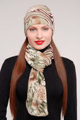 Fashion stylish girl with scarf — Stock Photo