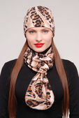 Fashion stylish girl with scarf — Stock Photo