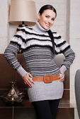 Attractive woman wearing stylish sweater — Foto Stock
