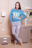 Young attractive woman in casual clothes — Stok fotoğraf